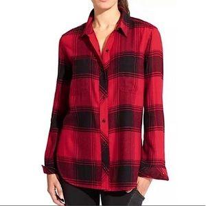 ATHLETA lumberJill soft red flannel button down M